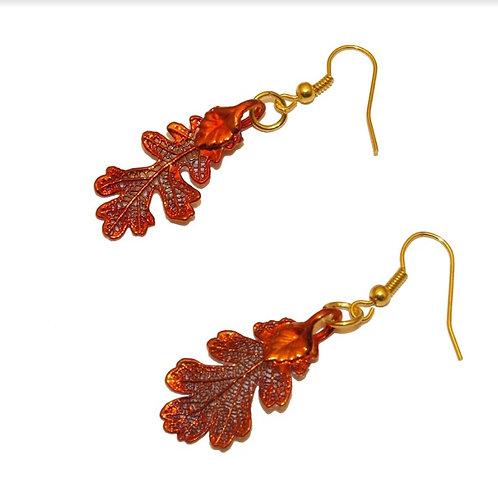 Oak Red Copper Earrings