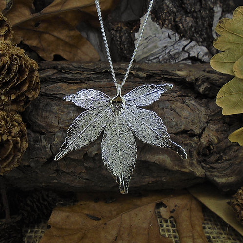 Japanese Maple Leaf Pendant - Silver (Medium)