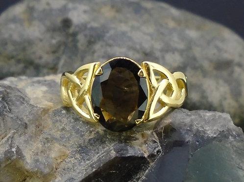 Cairngorm Morion Quartz Solid 18ct Gold Ring