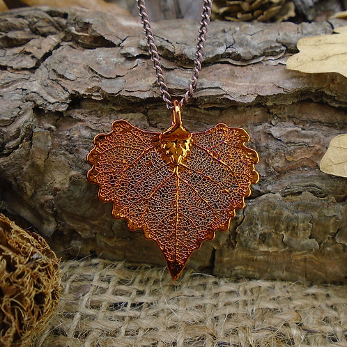 Cottonwood Leaf Pendant - Red Copper (Small)