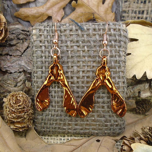 Sycamore Seed Earrings - Red Copper