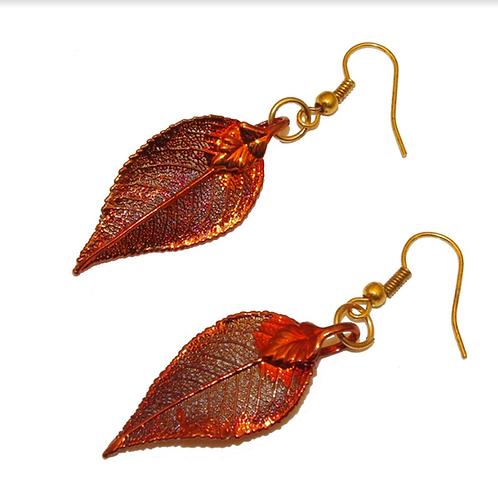Laurel Red Copper Earrings