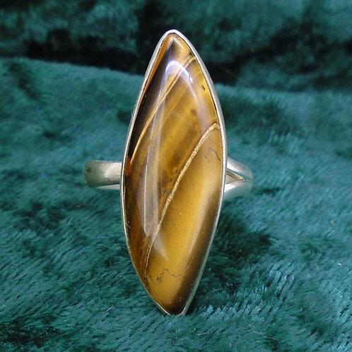 Tiger's Eye Sterling Silver Adjustable Ring