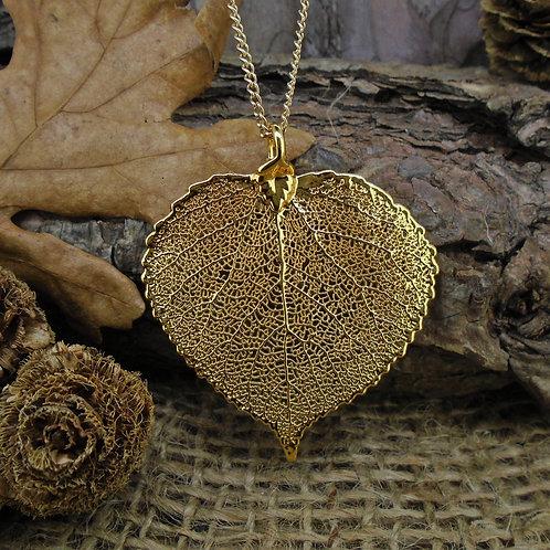 Aspen Leaf Pendant - Gold (Medium)
