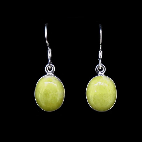 Highland Marble Oval Drop Sterling Silver Earrings