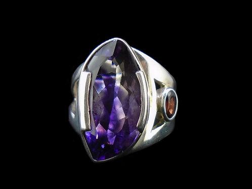 Amethyst & Garnet Sterling Silver Ring