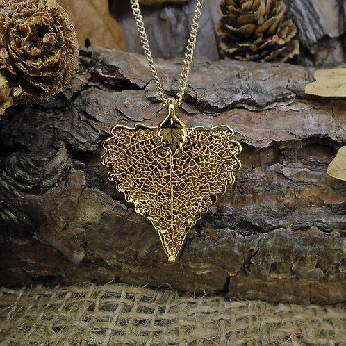 Cottonwood Leaf Pendant - Gold (Small)