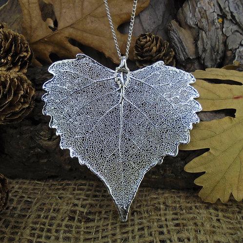 Cottonwood Leaf Pendant - Silver (Large)