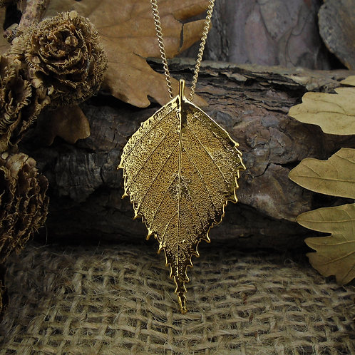 Birch Leaf Brooch Pendant - Gold