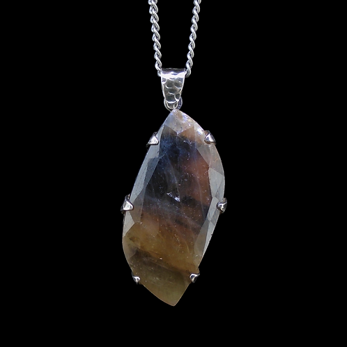 Natural Fancy Sapphire Sterling Silver Pendant