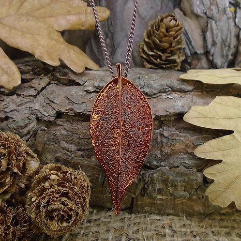 Laurel Leaf Brooch Pendant - Red Copper