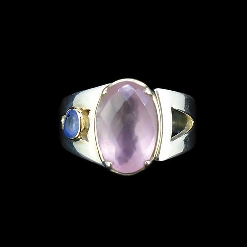 Faceted Rose Quartz & Sapphire Sterling Silver Ring
