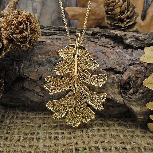 Oak Leaf Brooch Pendant - Gold