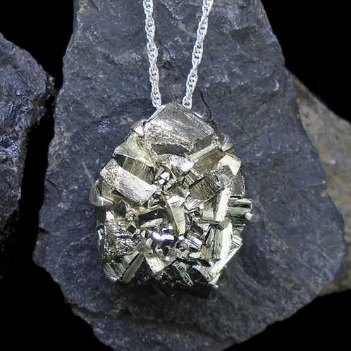 Cubic Iron Pyrite 'Fool's Gold' Sterling Silver Pendant