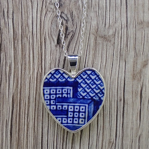 Old Willow 'Geometric' Sterling Silver Heart Pendant