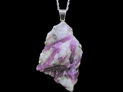 Raw Pink Tourmaline Sterling Silver Pendant