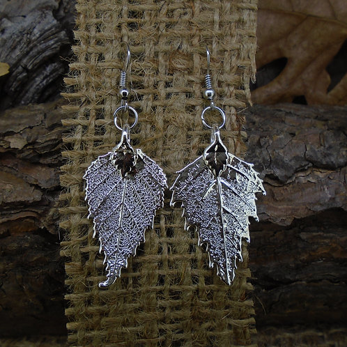 Birch Leaf Earrings - Silver