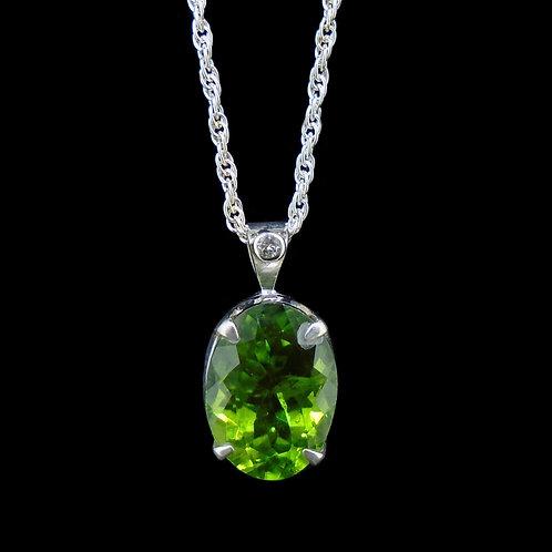 Peridot & Diamond Sterling Silver Pendant