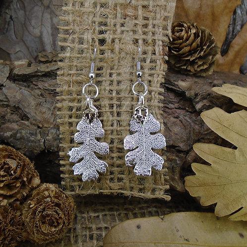 Oak Leaf Earrings - Silver