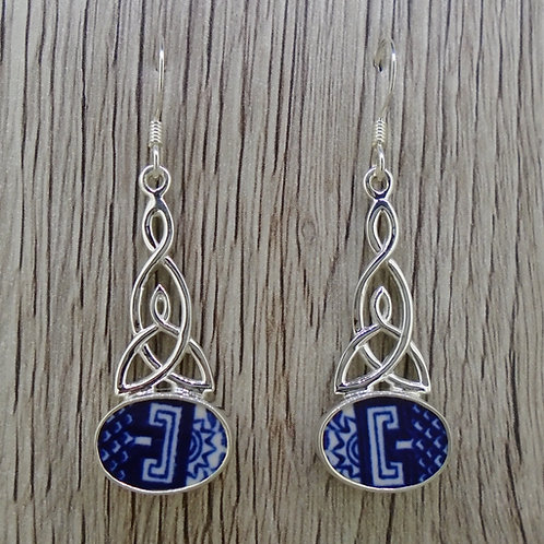 Old Willow 'Geometric' Sterling Silver Celtic Earrings