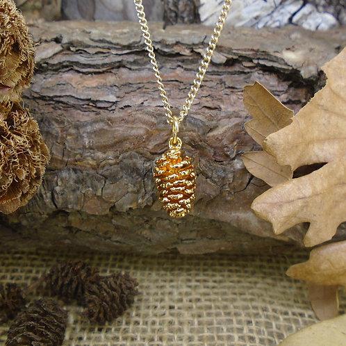 Pine Cone Pendant - Gold