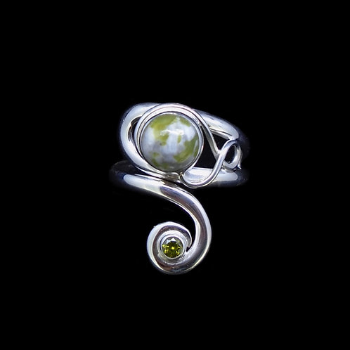 Iona Marble & Peridot Sterling Silver Ring