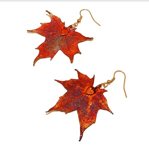 Canadian Maple Red Copper Earrings
