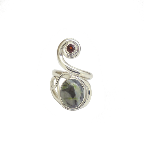 Skye Marble Celtic Twist with Garnet Ring