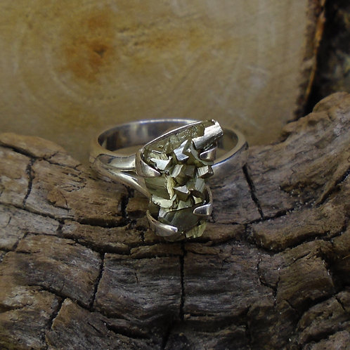 Cubic Iron Pyrite 'Fool's Gold' Sterling Silver Ring