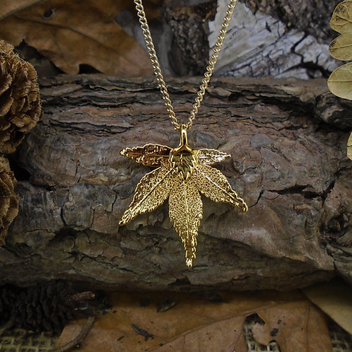 Japanese Maple Leaf Pendant - Gold (Small)