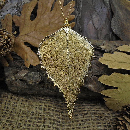 Birch Leaf Pendant - Gold (Large)