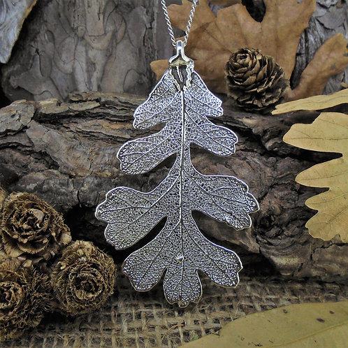 Oak Leaf Pendant - Silver (Large)