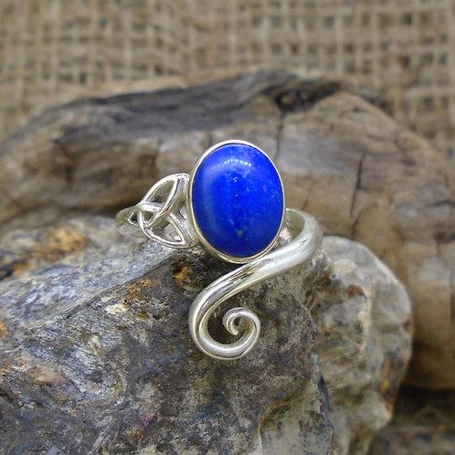 Lapis Lazuli Sterling Silver Celtic Ring