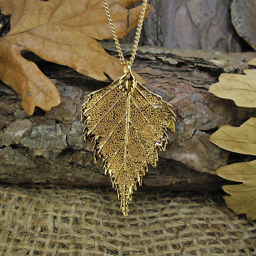 Birch Leaf Pendant - Gold (Medium)