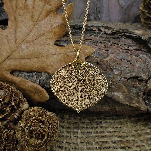 Aspen Leaf Pendant - Gold (Small)