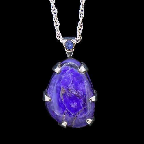 Sugilite & Sapphire Sterling Silver Pendant