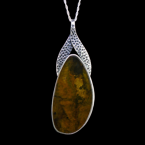 Large Dominican  Blue Amber Sterling Silver Pendant