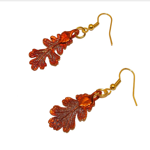 Oak Red Copper Earrings