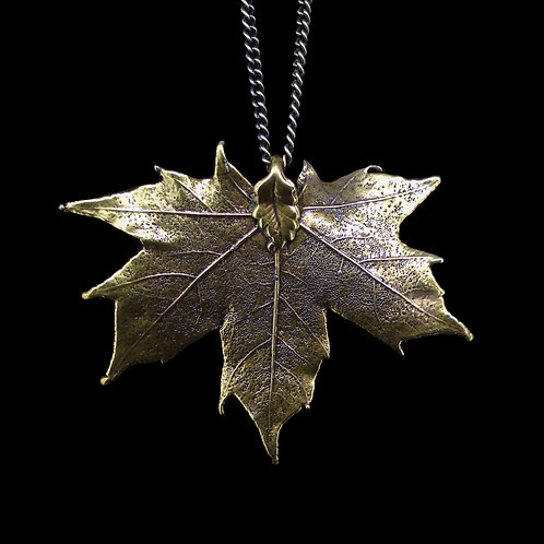 Canadian Maple Leaf Pendant - Antique Brass
