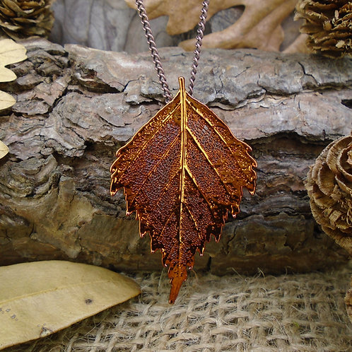 Birch Leaf Brooch Pendant - Red Copper