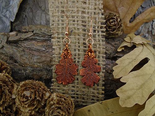 Oak Leaf Earrings - Red Copper