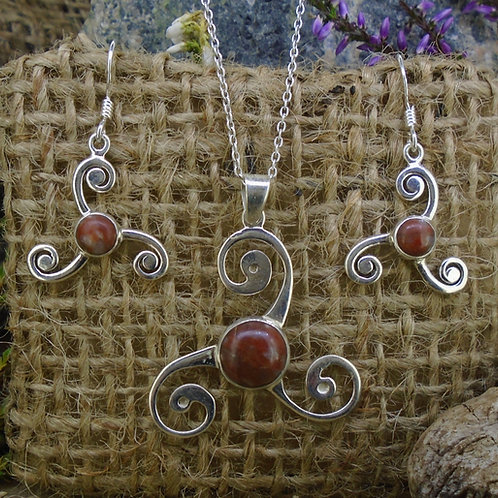 Lewisian Triskele Sterling Silver Earrings & Pendant Set