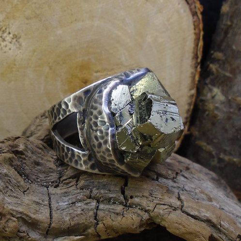 Cubic Iron Pyrite 'Fool's Gold' Sterling Silver Statement Ring