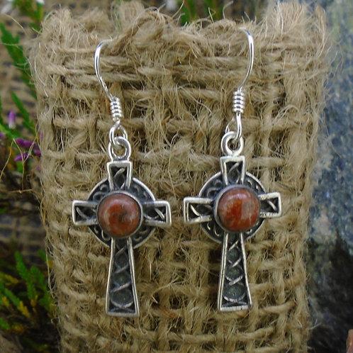 Lewisian Celtic Cross Sterling Silver Earrings
