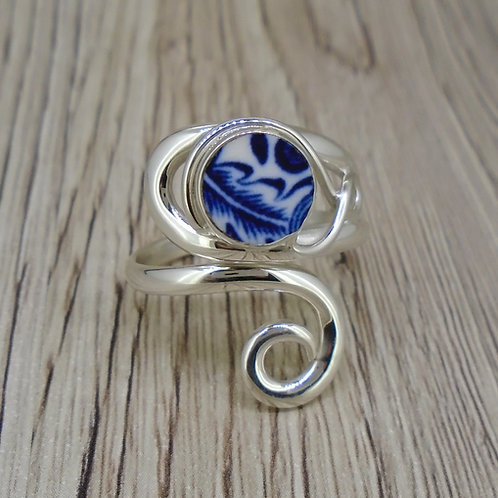 Old Willow 'Swirl' Sterling Silver Adjustable Twist Ring