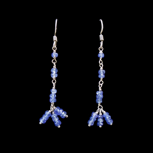 Natural Sapphire Sterling Silver Drop Earrings
