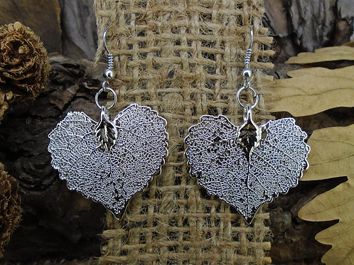 Cottonwood Leaf Earrings - Silver