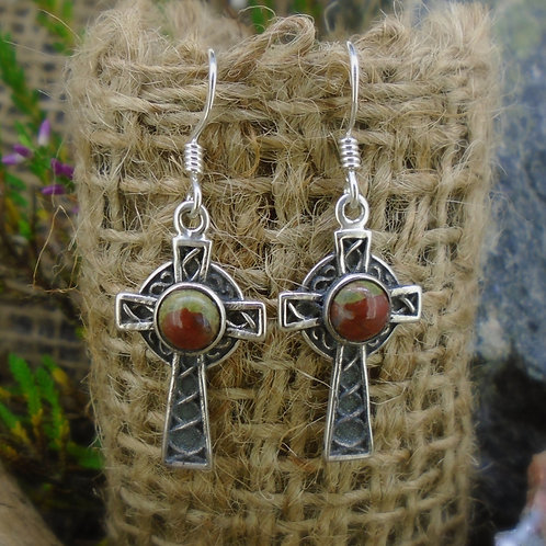 Lewisian Celtic Cross Sterling Silver Earrings