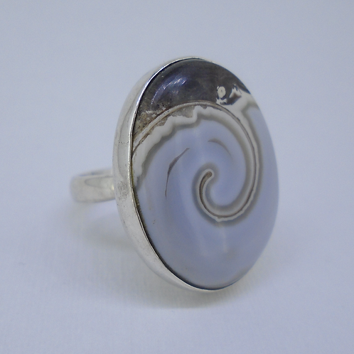 Rare Fossil Shell Sterling Silver Ring (Adjustable)