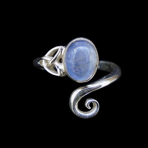 Blue Moonstone Sterling Silver Celtic Ring
